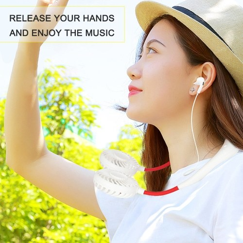 2020 New Q6 BT Supreme Edition 4-gear Wind Neck Hanging Fan with Headset USB rechargeable Micro USB for Office Outdoor Sports Travel In Summer K15014-W