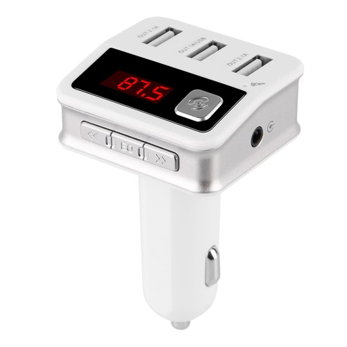 Bluetooth Car Charger Three-USB-port Charging Hands-Free Calling Professional FM Transmitter for Car Radio Wireless Music Audio Adapter MP3 Player
