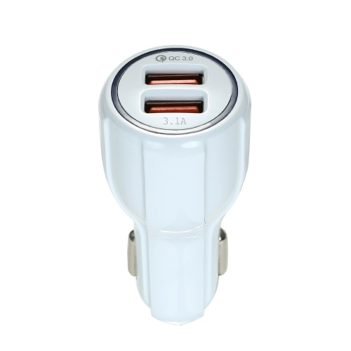 Quelima QC3.0 Dual USB Fast Charging Car Charger White