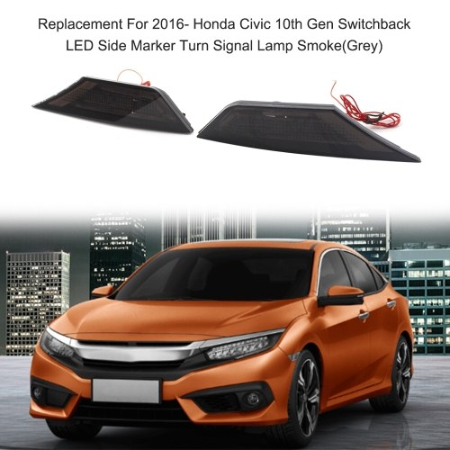 Replacement For 2016- Honda Civic 10th Gen Switchback LED Side Marker Turn Signal Lamp Smoke