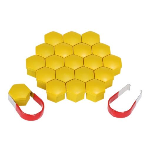 Set of 20pcs Universal 17mm Chrome Plastic Car Wheel Nut Covers Bolt Caps