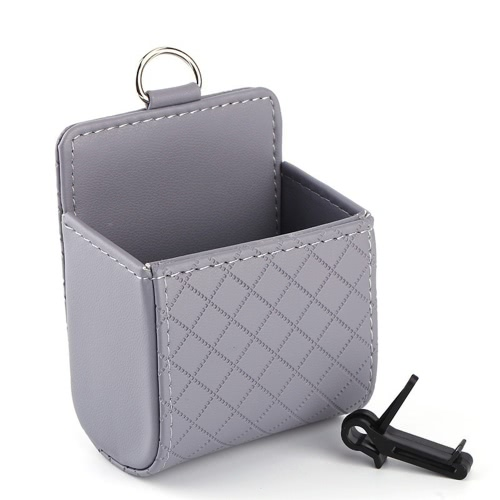 Car Pocket Seat PU Tidy Storage Coin Bag Case Auto Accessories Multifunction Air Outlet Hanging Checkered Box Styling Holder Hanger Item Phone Placing