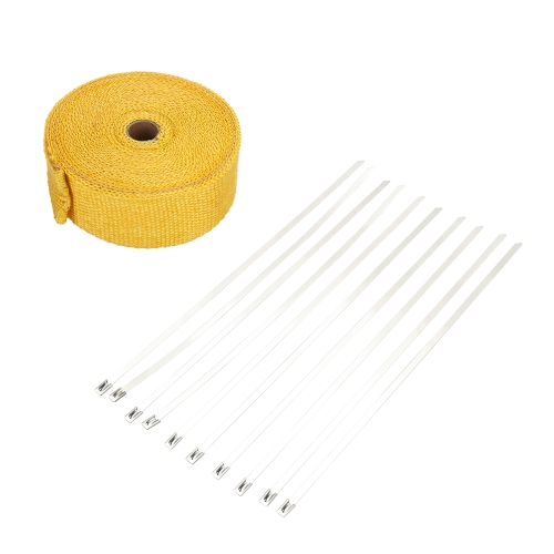 10m Fiberglass Wrap Exhaust Heat Wrap Roll Durable Wear-Resistant Heat Shield Tape Insulating Pipe Intake Manifold Heat Wrap for Motorcycle Car with 10 Ties