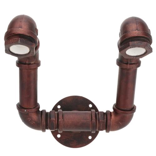 Rétro Vintage Personnalité Douille pour Lampe Murale Base de Lumière Bronze Métal en Forme de Conduite d'Eau pour 2 Ampoules E27 Décoration de Chambre Bar