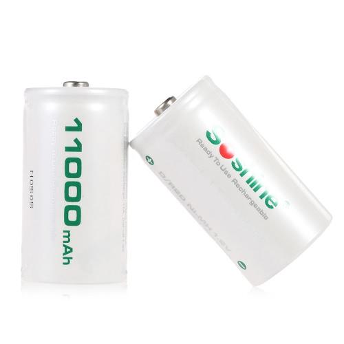 2pcs/lot 11000mAh Soshine D/R20 dimensione 1.2 v Low scarico ricaricabile Ni-MH batteria RTU D11000