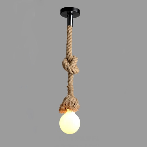 Lixada 200cm AC220V E27 Single Head Vintage Hemp Rope Hanging Pendant Ceiling Light Lamp Industrial Retro Country Style Dining Hall Restaurant Bar Cafe Lighting Use