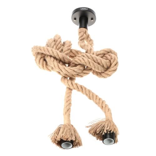 Lixada 400cm AC110V E26/E27 Double Head Vintage Hemp Rope Pendant Lamp