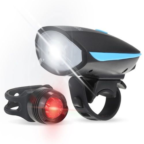Tomshine Super Bright LED Bike Light Front & Tail Lumière 5W 250LM 120dB Haut-parleur 6 modes d'éclairage USB Rechargeable Etanche Bicycle Torch