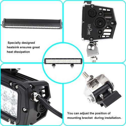 Tomshine 120W 40 LEDs 8400LM DC10-30V Off-road Light Bar IP65 Water-resistant Flood Spot Combo Beam for Jeep SUV Cars Trucks Tractor Boat Bus Driving