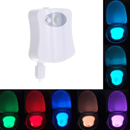 Docooler Toilet Seat Light 8 Colors Changes Motion Activated Light Sensitive Dusk to Dawn Battery Operated Lamp