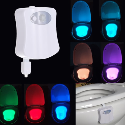 8 cores LED WC Nightlight movimento ativado Dusk Sensitive Light para Lamp Amanhecer bateria-operado