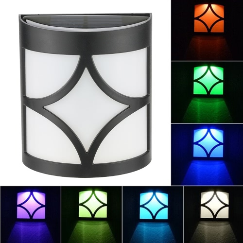 Image of 0.2W RGB Solar Powered Outdoor Wall Lamp Light