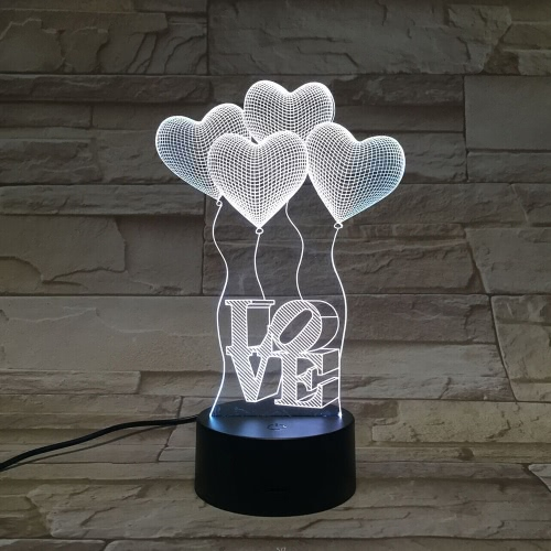Ambiance romantique Ballons en forme de coeur LED 3D Night Light