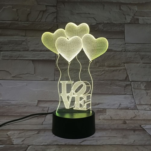 Romantic Atmosphere Heart Shape Balloons Capital Letter Visual Acrylic LED Children 3D Night Light