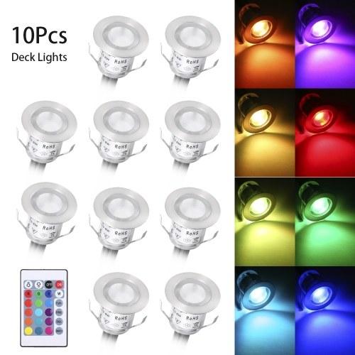 10 Stück LED Deck Lichter mit Fernbedienung 16 RGBW Farben und 4 Beleuchtungsmodi