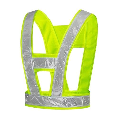 Chaleco reflectante de seguridad en forma de V para la construcción de tráfico Noche Correr Correr Ciclismo Manténgase visible