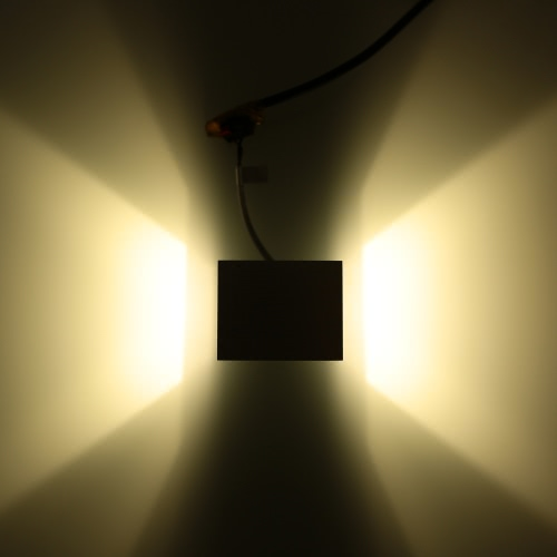Image of 3W AC110-240V oben und unten Mini Square Lichtwand montiert LED Indoor Dekoration Lampe Aluminium für Flur Treppe Schlafzimmer Hotelbar Party