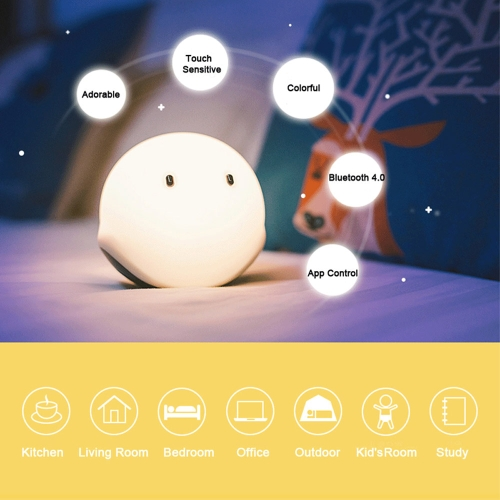 EMIE Elfy Touch Sensor Multicolor RGB Smart Portable LED Rechargeable Night Light App Control Ball Lamp Wireless BT 4.0 for Kidsroom Bedroom Kitchen Living Room Office Kid's Room Study