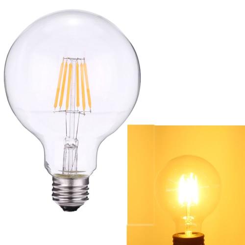 6W G95 светодиодные лампочки накаливания Фонарь-Shaped AC220-240V Основание E27 2700K Урожай ретро отдыха Фестиваль украшения Теплый белый