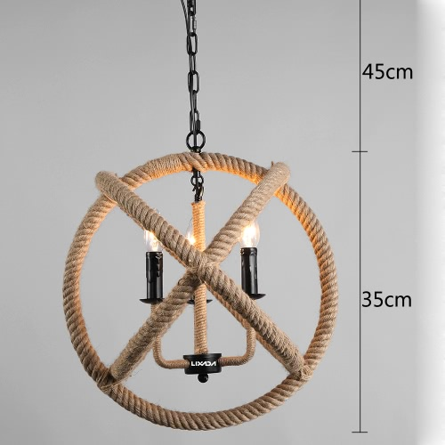 Lixada 3 Arms E14 AC110-120V Hanging Hemp Rope Ball-Shaped Ceiling Pendant Light Vintage Retro Country Style Chandelier Dining Hall Restaurant Bar Cafe Lighting Use