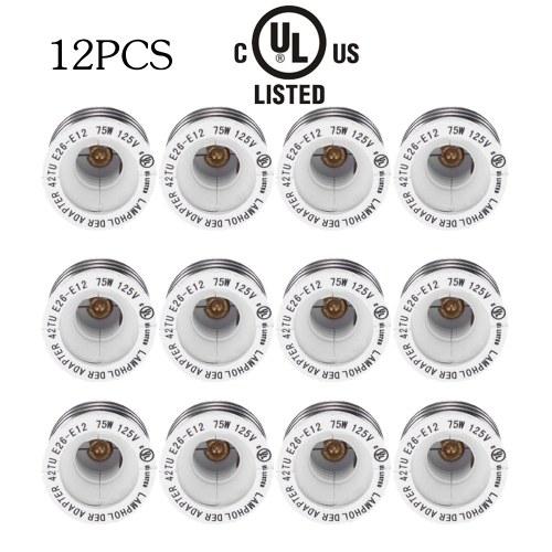 UL-Zertifikat 12 Packs E26 bis E12 Lampenfassung Basis-Adapter-Konverter Medium Schraube Candelabra Schraube Sockel