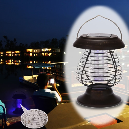 0.3W Solar-Powered UV Bug Zapper Repellant Pest Insect Mosquito Killer & LED Garden Lamp and Lantern for Camping Hiking