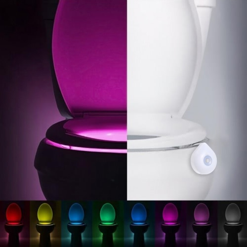 Светодиодные гибкие Night Light стульчак PIR движения Активированный 8 цветов Измененный или статический батарейках Аварийный светильник для ванной комнаты