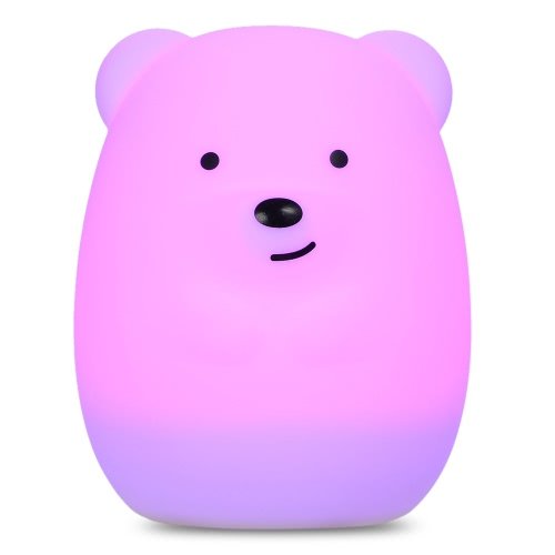 1.6W 8 LEDs Creative Cute Bear Night Light USB Rechargeable Soft Silicone Cartoon Lamp 2 Control Patterns 5 Lighting Modes Touch Sensor Battery Included Portable Colorful Light for Baby Nursery Children Toy Bedside Lamp Luminaria Gift Bedroom Festival Expression 1