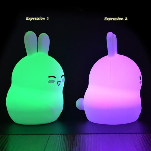 1.6W 8 LEDs Creative Cute Rabbit Night Light USB Rechargeable Soft Silicone Cartoon Lamp 2 Control Patterns 5 Lighting Modes Touch