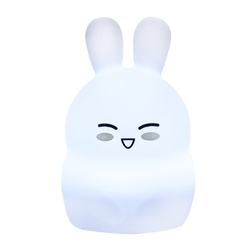 1.6W 8 LEDs Creative Cute Rabbit Night Light USB Rechargeable Soft Silicone Cartoon Lamp 2 Control Patterns 5 Lighting Modes Touch Sensor Battery Included Portable Colorful Light for Baby Nursery Children Toy Bedside Lamp Luminaria Gift Bedroom Festival Expression 1