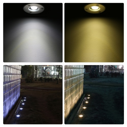 Tomshine 1W AC/DC 12V LED Underground Light Lamp 100LM High-power Tempered Glass Outdoor Ground Garden Path Floor Stair Yard Spot Landscape Lamp IP67 Water Resistant Warm White