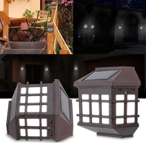 2Pcs IP65 Wasserdicht Außensolarbetriebene Nachtlicht Induction-Sensor-LED Retro Wandleuchte für Garten-Hof Zaun Korridor Aisle Patio