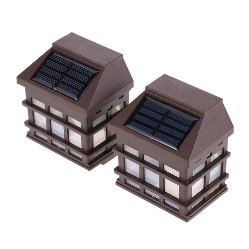 2Pcs IP65 Water Resistant Outdoor Solar Powered Night Light Induction Sensor LED Retro Wall Lamp for Garden Courtyard Fence Corridor Aisle Patio