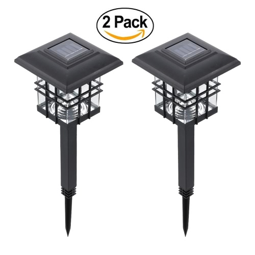 Tomshine 2 Pack Solar Powered LED Garden Yard Bollard Pillar Light  Lawn Lamp 2-IN-1 Outdoor Landscape Auto On / Off Post Lamp Water Resistant