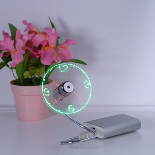 Creative USB LED Mini Clock Fan Night Light