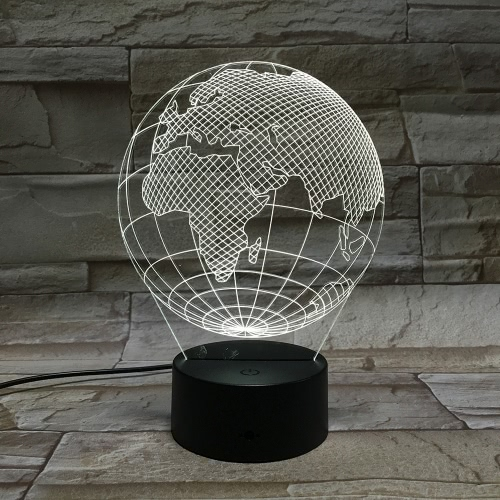 3D Globe Visual LED Lamp Acrylic Plate Optical Plug Night Light Atmosphere 7 Colors Automatic Change for Bedside Room Home Decor Gifts Christmas Halloween Novelty Multicolor