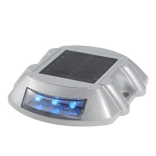 2 Pcs  6 LEDs Aluminum Waterproof Solar Powered Road Stud Steady Bright