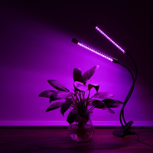 18W 36LEDs 540LM Dimmable Plant Grow Light Dual Head Flower Lamp with Clamp for Indoor Desk Greenery Bracketplant