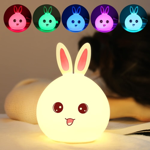 Colorful Rabbit Silicone Lamp Rechargeable LED Light Cute Night Lamps Bedroom Lights For Children Kids Nightlight Taking Care of Baby Bedlight Touch Sensor Blue