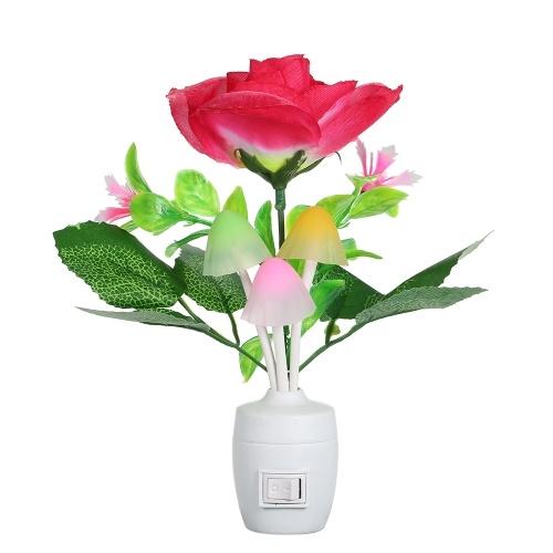 AC110-220V Светодиодная цветочная ваза Горшечная настенная лампа Ночной свет Кнопка управления кнопкой Автоматическое изменение цвета