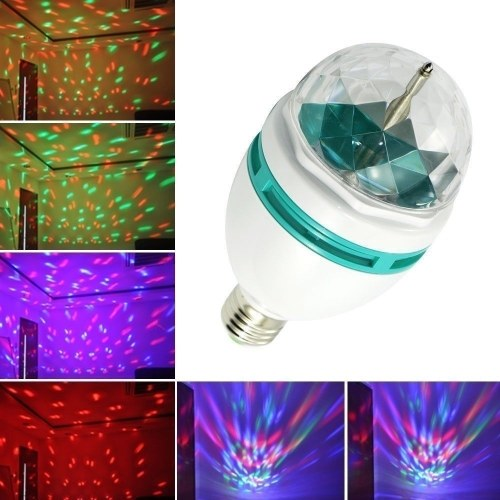 1Pcs 3W E-27 RGB Rotary LED Stage Light Small Magic Ball Lamp Lighting for Glow Party Dance Floor Disc