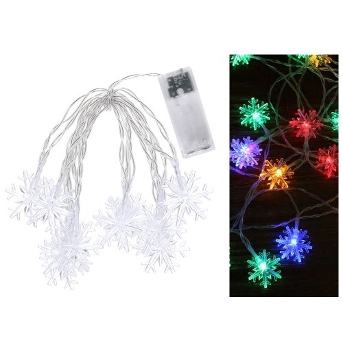 0.6W 1.5Merters 10 LED Snowflake String Light White Lámpara brillante / flash constante constante