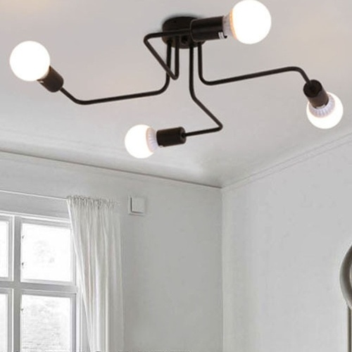 Lámpara de techo de metal retro creativa