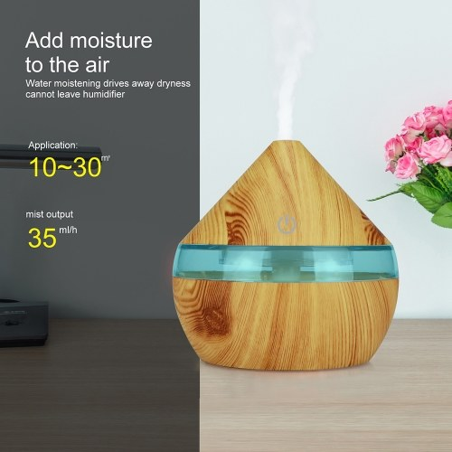 TOMTOP / DC5V 2W 300ml USB Cool Mist Air Humidifier Essential Oil Diffuser 7 Color Changing Light for Office Home Bedroom Living Room Study Yoga Spa