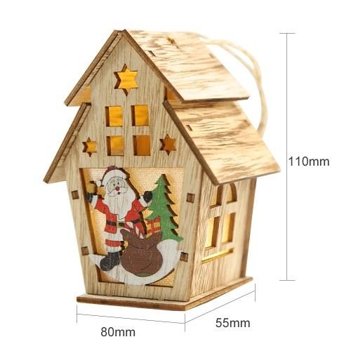 Casa de madeira luminosa de Natal com luz de LEDs
