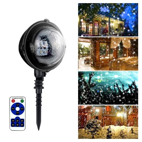 AC85V-240V 5W LEDs Mini Projector Light with Remote Control Supported Speed Adjustable Timer Timing Time Setting Indoor Outdoor IP65 Water Resistance Snow Falling Landscape Lamp фото