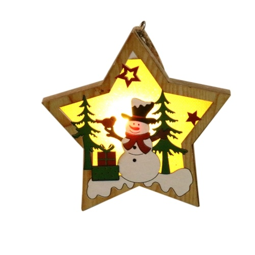Portable Delicate Christmas Decoration Wooden Lighting