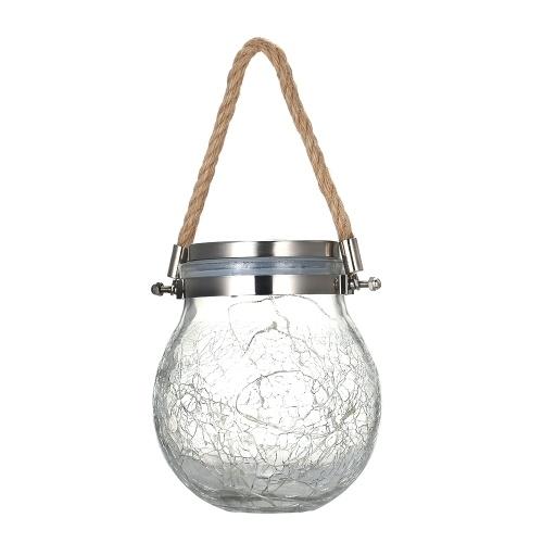 Outdoor Solar Hanging Light Crack Glass Ball Solar Hanging Light Lamp Fairy Light Landscape Patio Garden Jar Solar Light 1Pcs