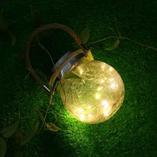 Открытый Солнечный Подвесной Светильник Трещины Стеклянный Шар Солнечный Подвесной Светильник Лампа Fairy Light Патио Сад Jar Солнечный Свет 1 Шт. фото