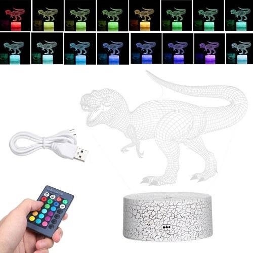Lámpara de ilusión de luz nocturna LED de dinosaurio 3D
